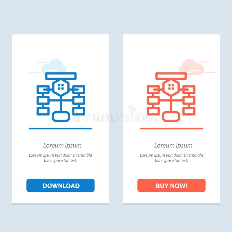 Flowchart, Flow, Chart, Data, Database  Blue and Red Download and Buy Now web Widget Card Template stock illustration