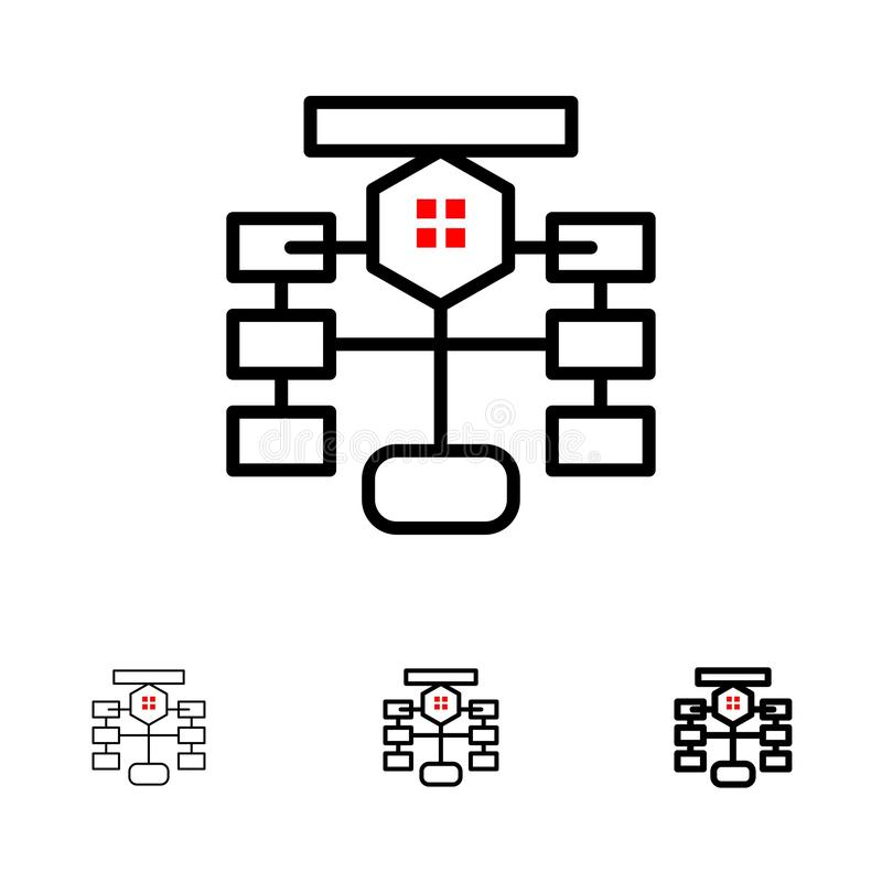 Flowchart, Flow, Chart, Data, Database Bold and thin black line icon set stock illustration