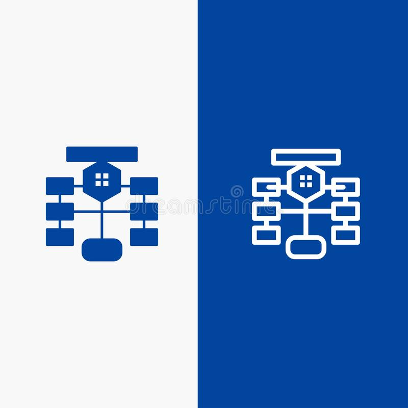 Flowchart, Flow, Chart, Data, Database Line and Glyph Solid icon Blue banner vector illustration