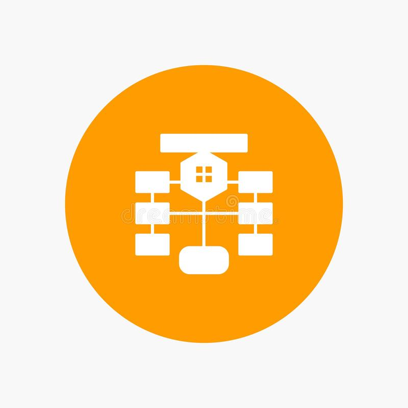 Flowchart, Flow, Chart, Data, Database white glyph icon vector illustration