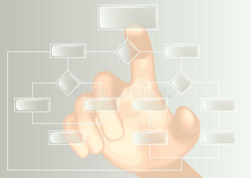Flowchart and hand. Abstract scheme on a white background stock illustration