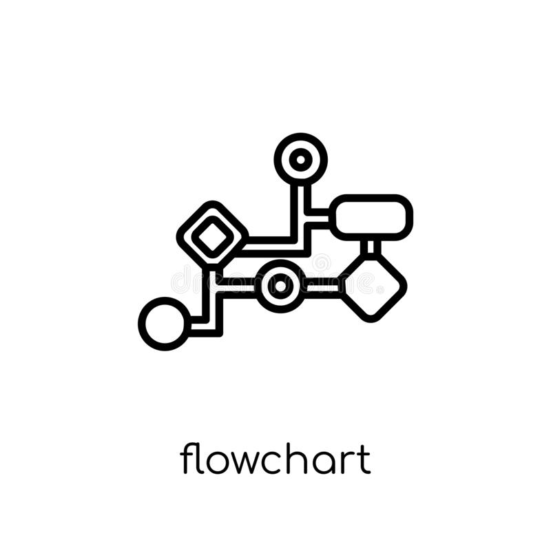 Flowchart icon from collection. Flowchart icon. Trendy modern flat linear vector flowchart icon on white background from thin line collection, outline vector royalty free illustration