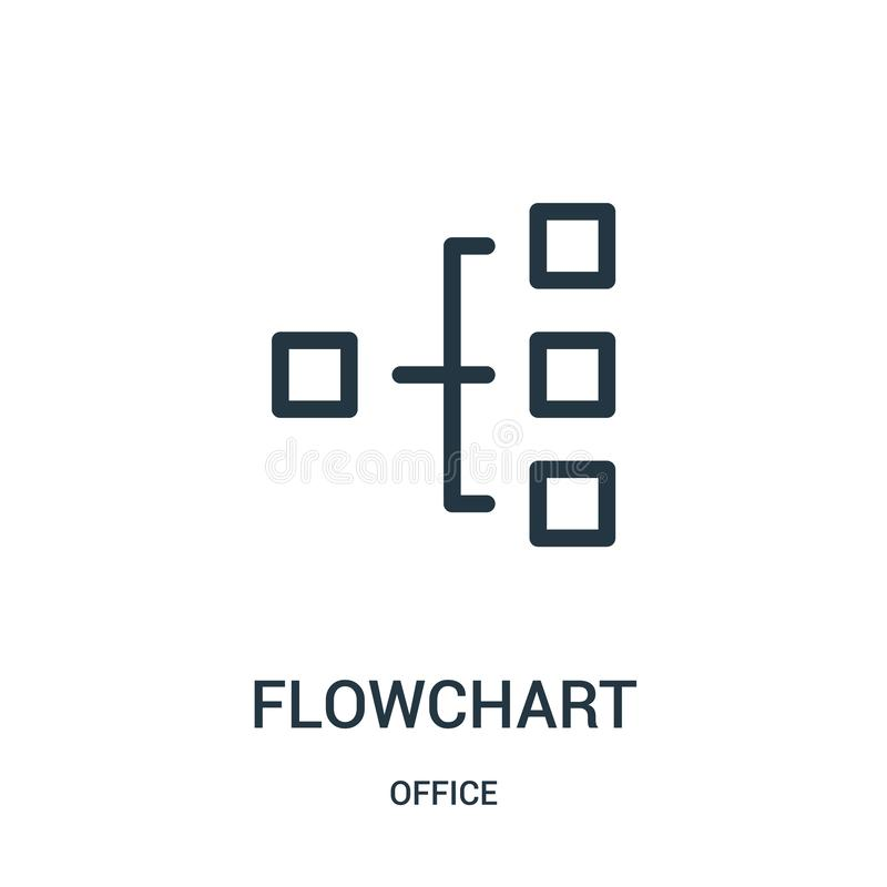 Flowchart icon vector from office collection. Thin line flowchart outline icon vector illustration. Linear symbol for use on web and mobile apps, logo, print royalty free illustration