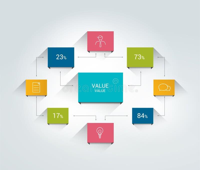 Flowchart. Infographics scheme. Color connected text field stock illustration