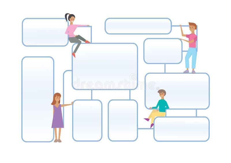 Flowchart latout с человеческими характерами на белой предпосылке бесплатная иллюстрация