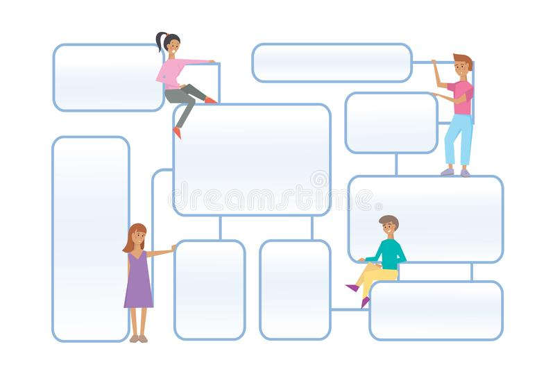 Flowchart latout with human characters on a white background. Flowchart latout with human characters on white background. Connected info-boxes for presentation royalty free illustration