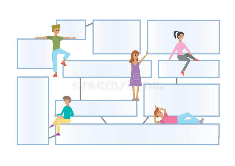 Flowchart latout with human characters on a white background. Connected info-boxes for presentation. Infographics flat royalty free illustration