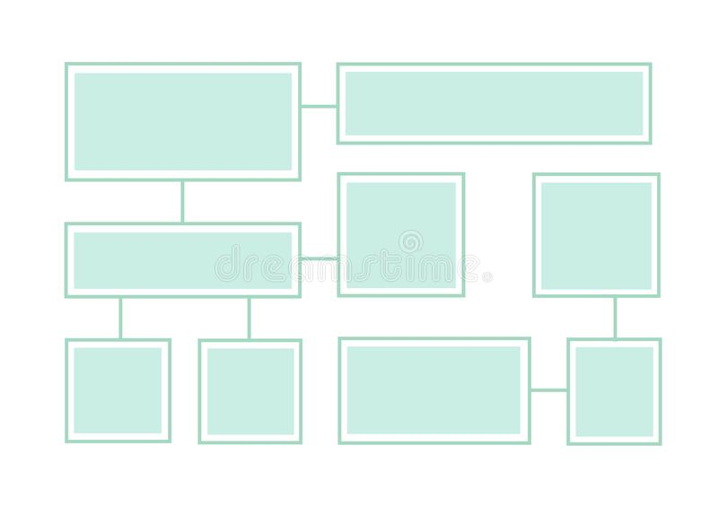 Flowchart latout on a white background. Connected info-boxes. Flowchart latout on white background. Connected info-boxes for presentation. Infographics flat stock illustration
