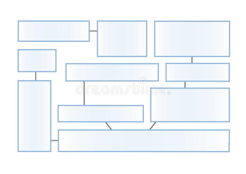 Flowchart latout on a white background. Connected info-boxes for presentation. Infographics flat vector design template. Flowchart latout on white background vector illustration