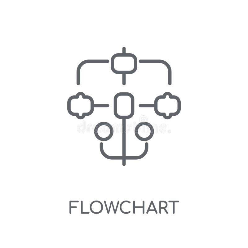 Flowchart liniowa ikona Nowożytny konturu Flowchart logo pojęcie dalej ilustracji
