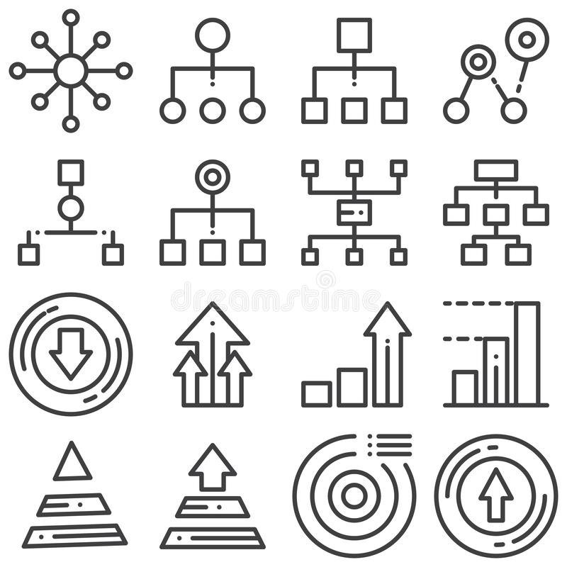 Flowchart management line icons set royalty free illustration