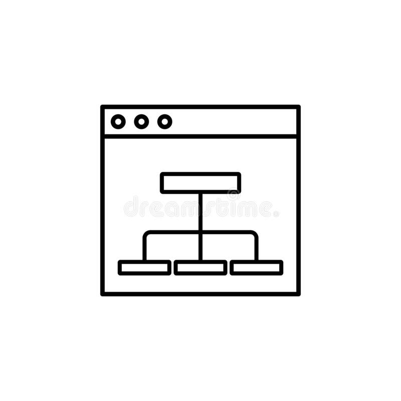 Flowchart, mapping icon. Simple outline vector of Web Design Development  set icons for UI and UX, website or mobile application. On white background vector illustration