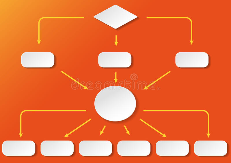 Flowchart Orange Background. Flowchart with with paper labels on the blue background. Eps 10 file vector illustration