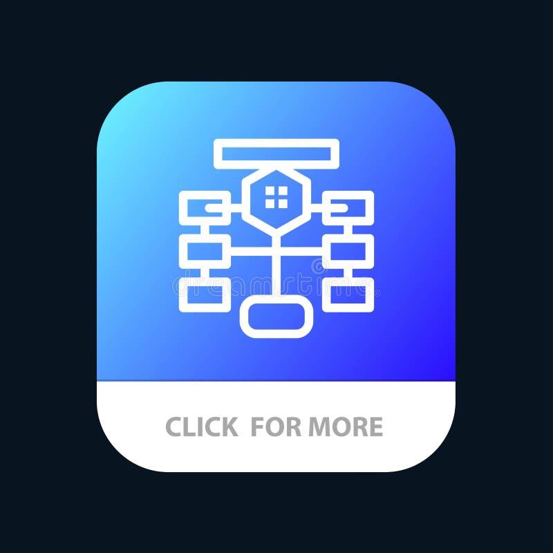 Flowchart, przepływ, mapa, dane, baza danych App Mobilny guzik Android i IOS linii wersja ilustracja wektor