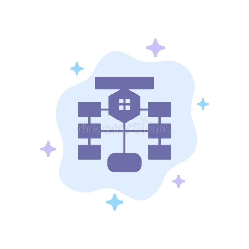 Flowchart, przepływ, mapa, dane, baza danych Błękitna ikona na abstrakt chmury tle royalty ilustracja