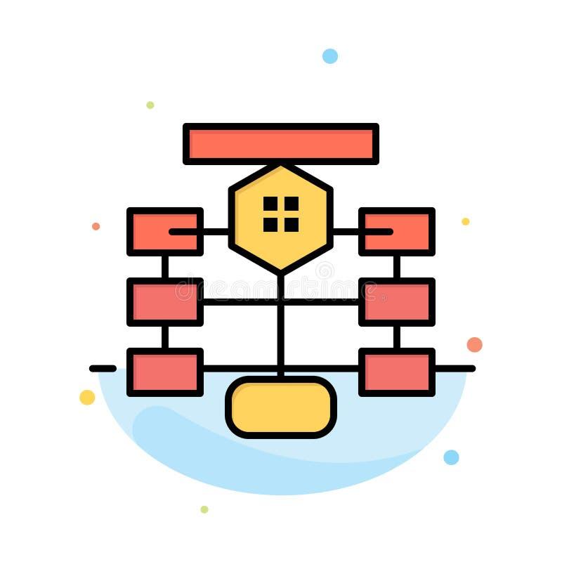 Flowchart, przepływ, mapa, dane, baza danych koloru ikony Abstrakcjonistyczny Płaski szablon ilustracji
