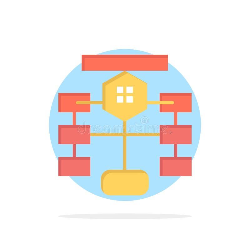 Flowchart, przepływ, mapa, dane, baza danych okręgu Abstrakcjonistycznego tła koloru Płaska ikona ilustracja wektor
