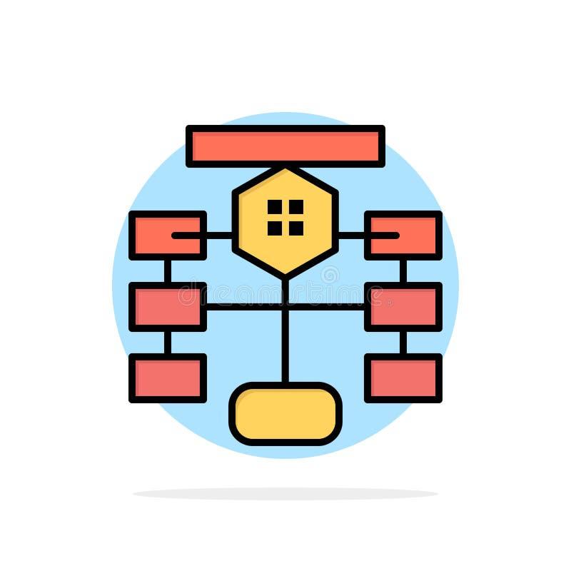 Flowchart, przepływ, mapa, dane, baza danych okręgu Abstrakcjonistycznego tła koloru Płaska ikona royalty ilustracja