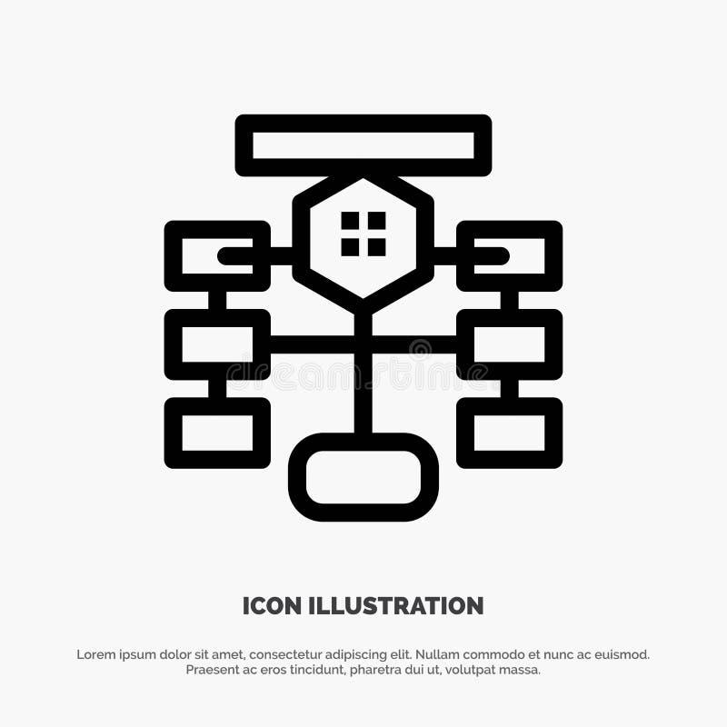 Flowchart, przepływ, mapa, dane, baza danych wektoru linii ikona ilustracja wektor