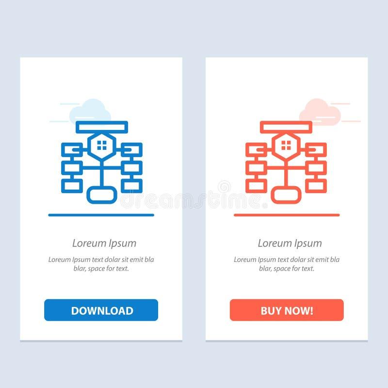 Flowchart, przepływu, mapy, dane, baza danych sieci Widget karty szablon, Błękitnej i Czerwonej ściągania i zakupu Teraz ilustracji
