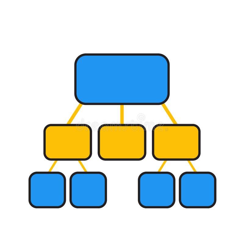 Flowchart szablon w błękicie i kolorze żółtym royalty ilustracja