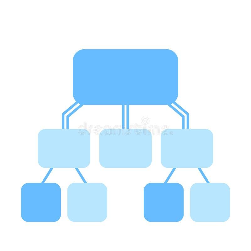 Flowchart wektorowy szablon, błękitny na bielu ilustracja wektor