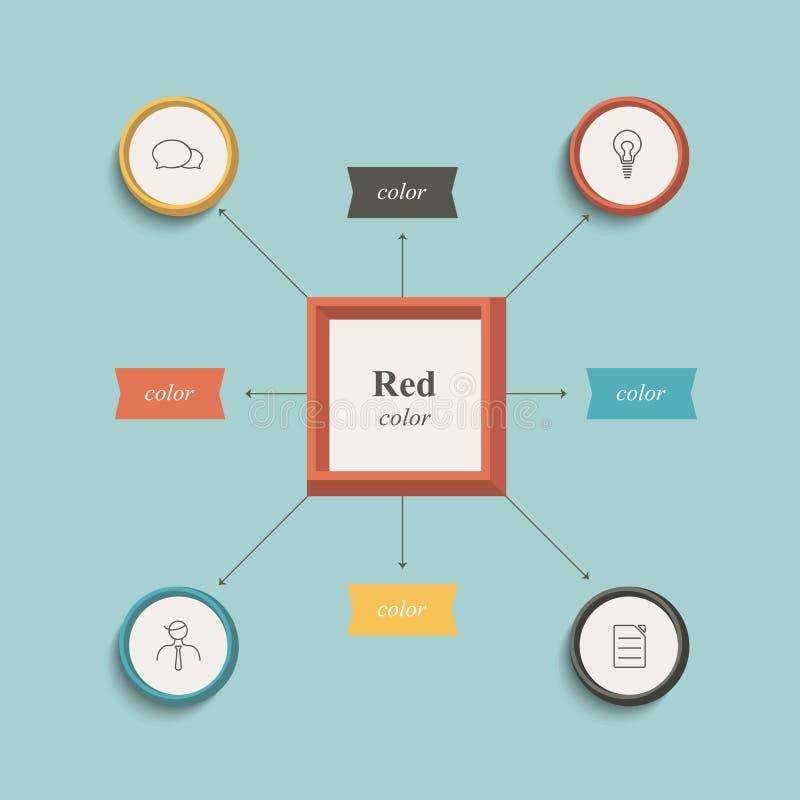 Flowchart, workflow chart. Flat design. Retro color style royalty free illustration
