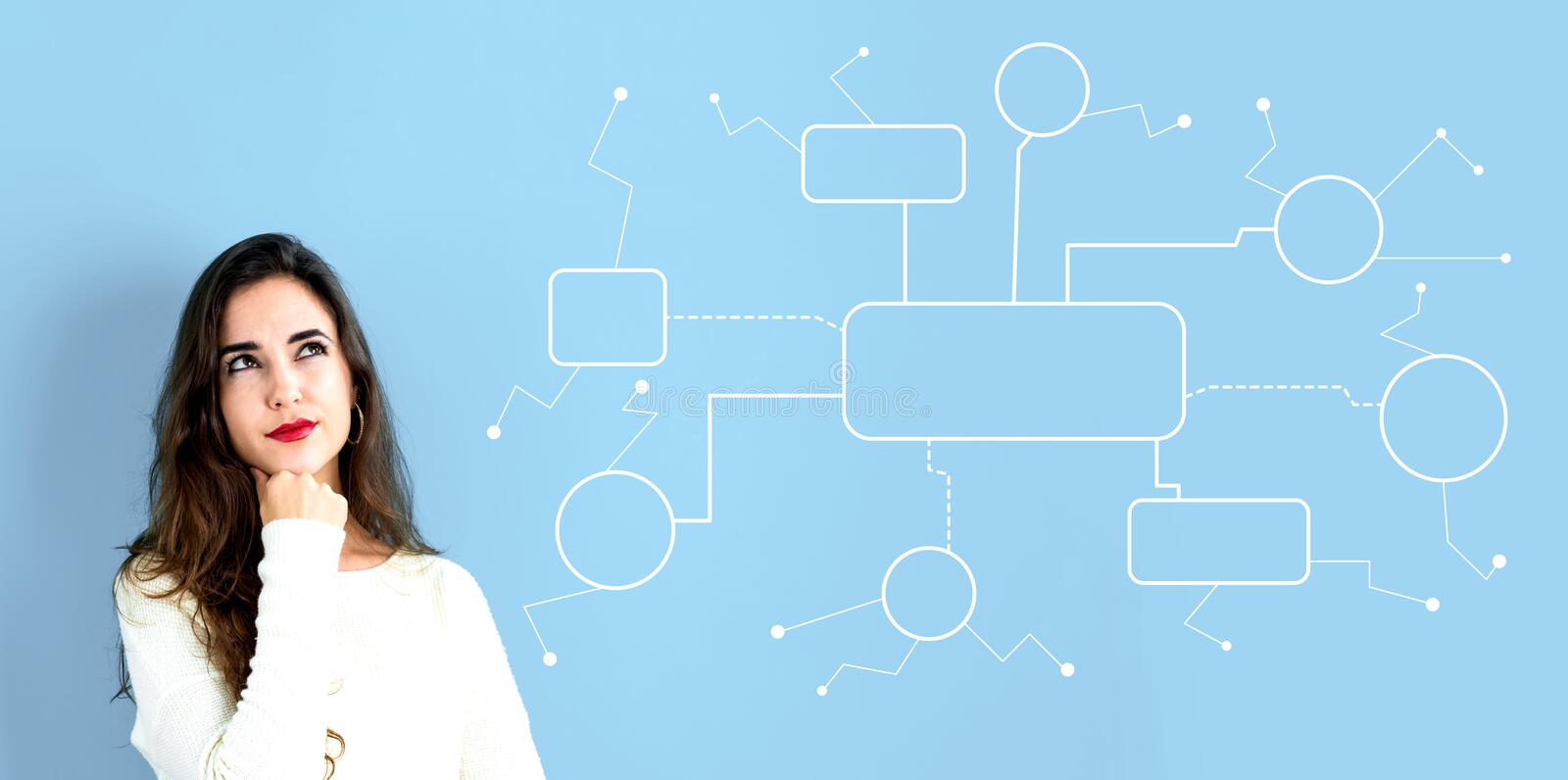 Flowchart with young woman. In a thoughtful face royalty free stock photography