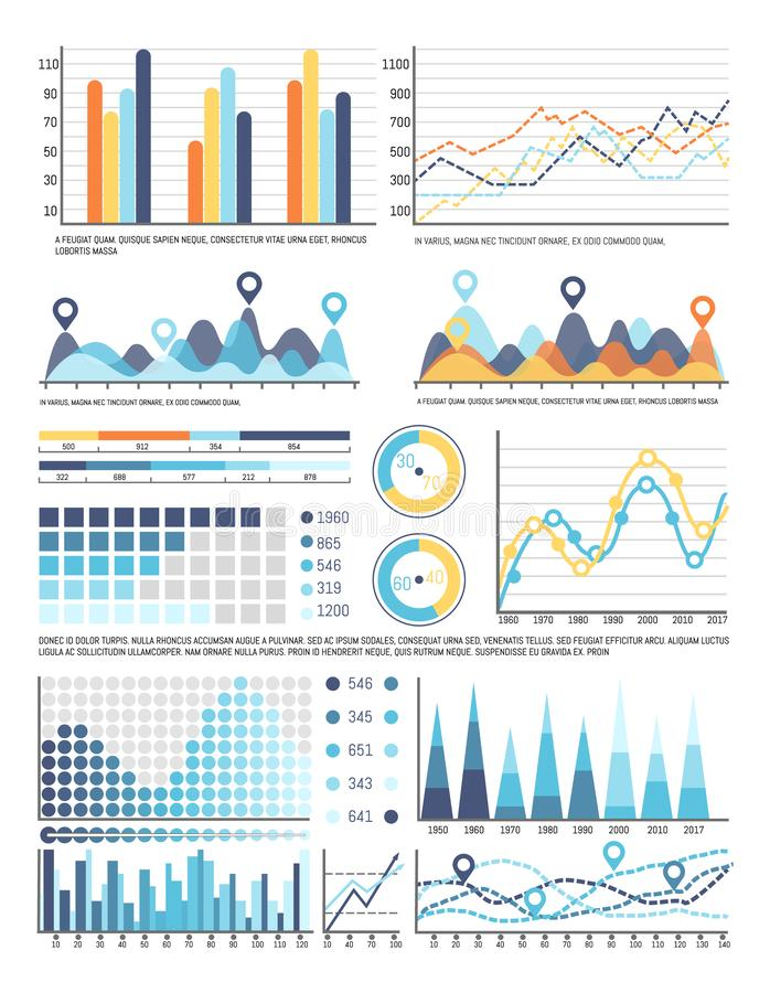 Flowcharts with Information in Visual Form Data. Flowcharts with information in visual form, data representation vector. Pie diagram and percentage, statistics vector illustration
