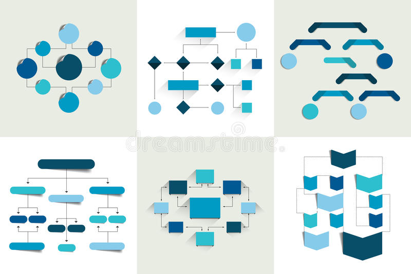 Flowcharts. Set of 6 flow charts schemes, diagrams. Simply color editable. stock illustration