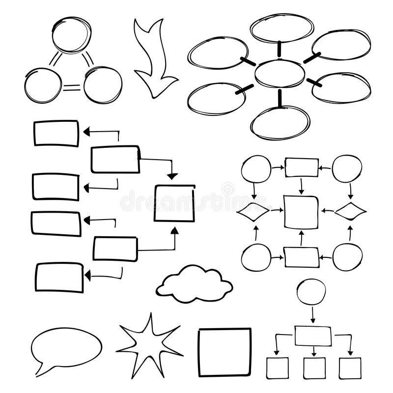 Flowcharts vector set. Felt-tip pen and marker stock illustration