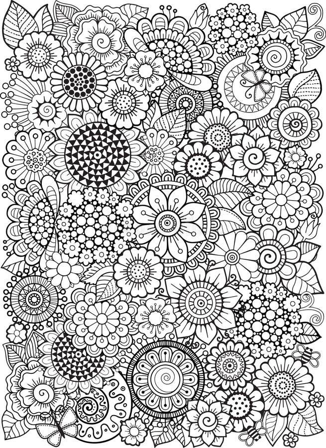 Flowe in bianco e nero di estate isolato su bianco Fondo astratto di scarabocchio fatto dei fiori e della farfalla Pagina di colo illustrazione vettoriale