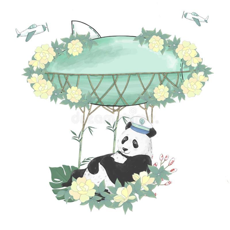 Flowe digitale dell'illustrazione del disegno di clipart del panda di saluto di compleanno di celebrazione della carta del caratt illustrazione vettoriale