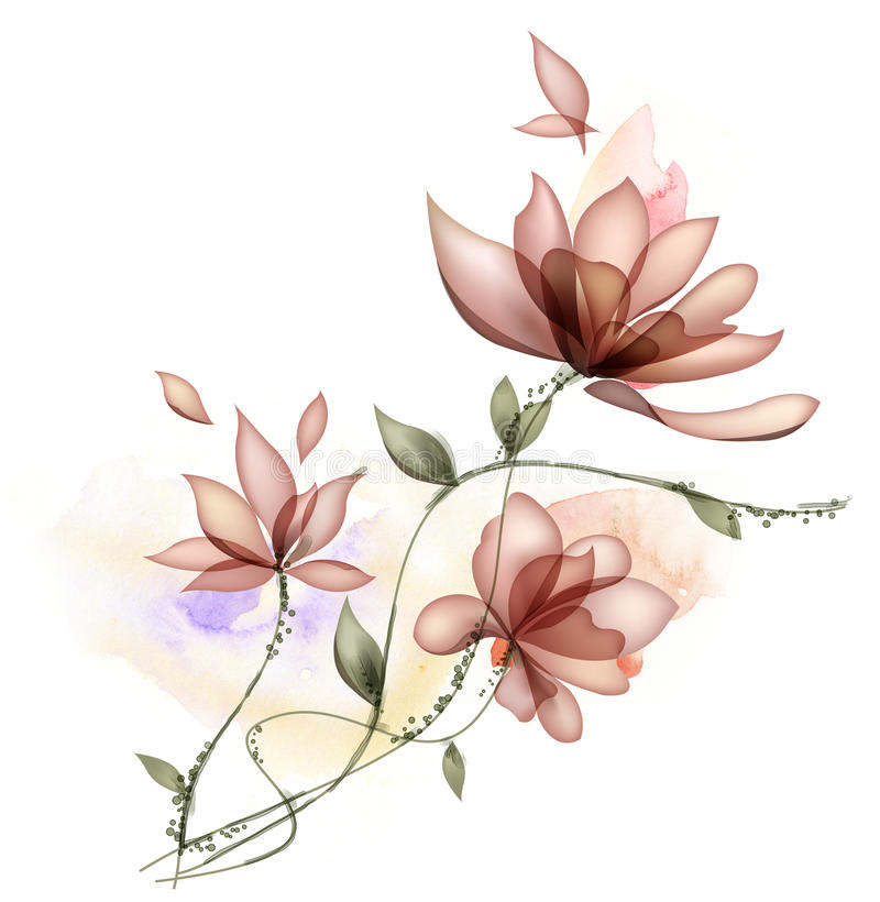 Flower. Drawing of beautiful flower in a white background