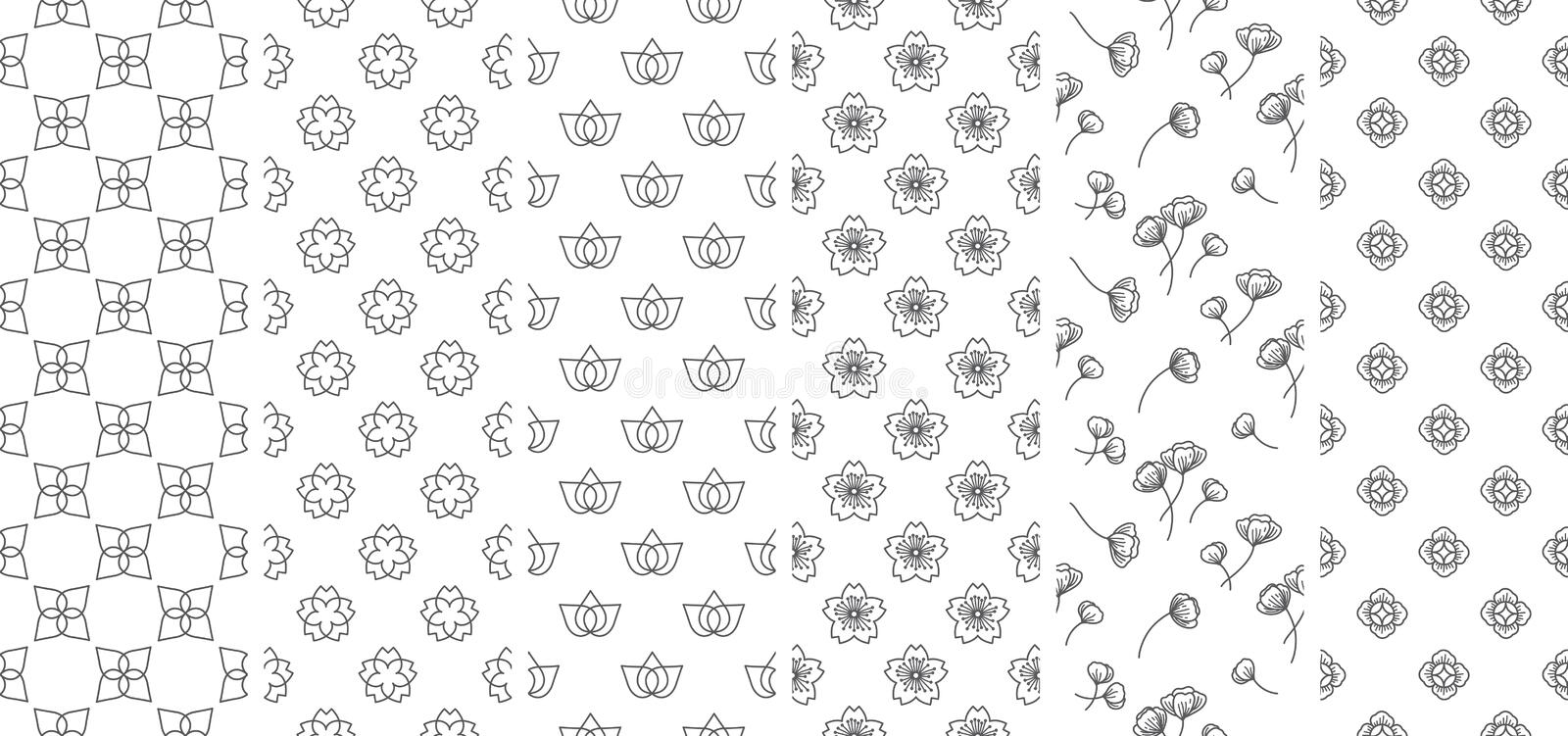 6 Traditional flower and leaf line seamless wallpaper. Asia. Japanese. Thai. Chinese. Traditional flower and leaf line seamless wallpaper. Asia. Japanese. Thai vector illustration