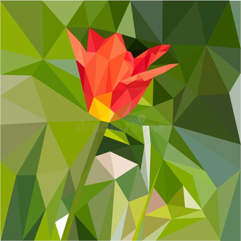 Red tulip mosaic. Vector image of red spring tulip on green field background graphic illustration royalty free illustration