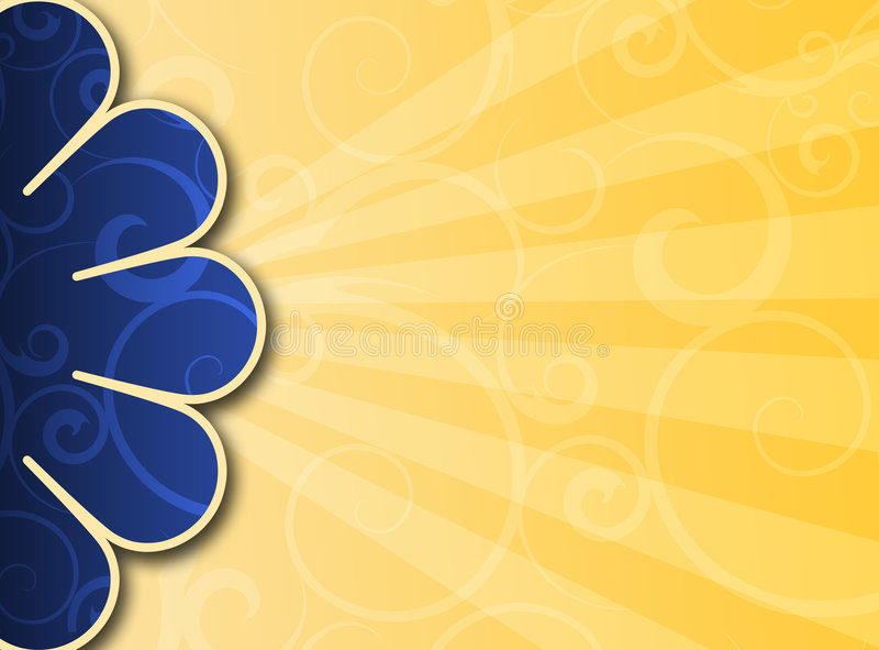 Flower 2. Flower shape on yellow gradient background with rays of light stock illustration