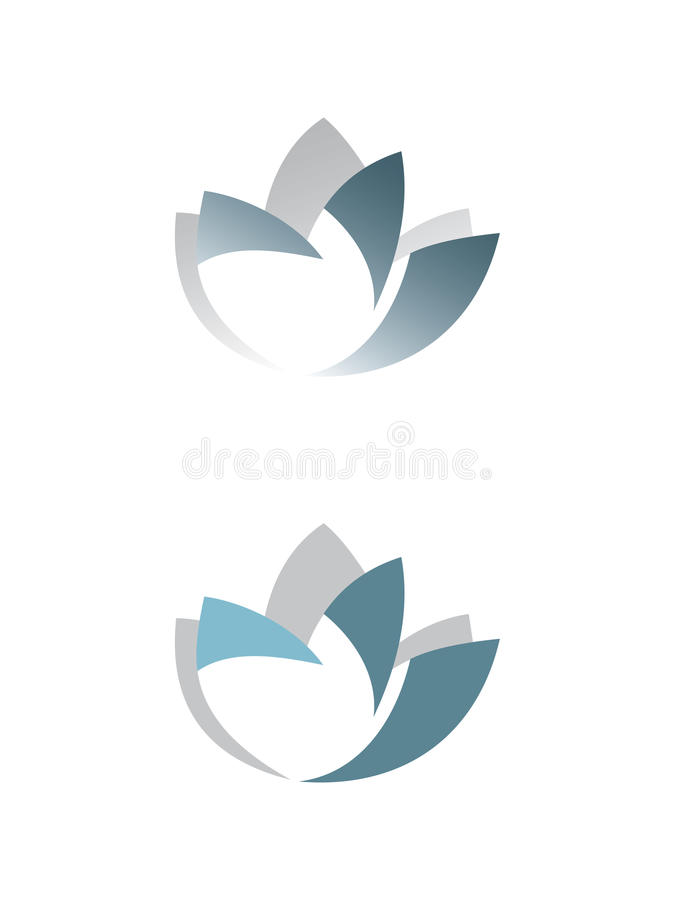 Flower on white background. Symbolic image of the flower lotus, can be a logotype or icon