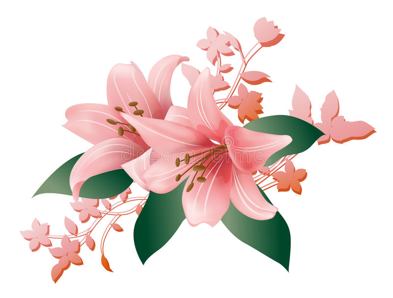 Flower. Pink flower and green leave on white backgroung royalty free illustration