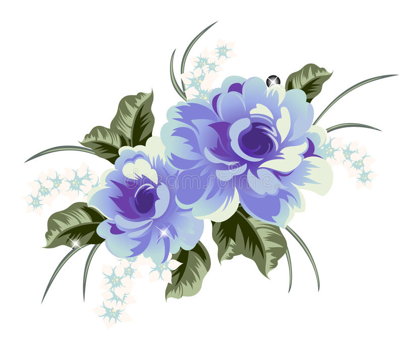 Flower. Blue flower and green leave on white backgroung stock illustration