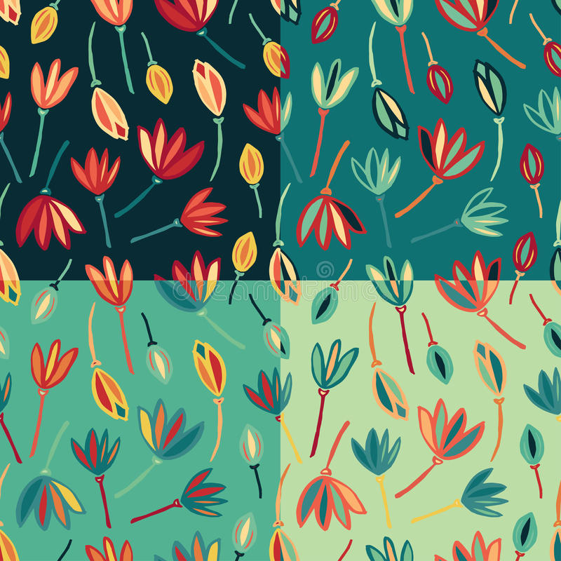 Flower abstract seamless pattern background vector. Floral textile pattern set stock illustration
