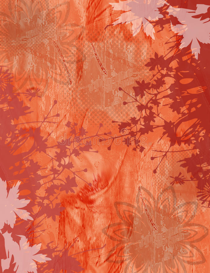 Flower Abstract Texture Background in Orange. With Floral Border. Various Grunge effects vector illustration