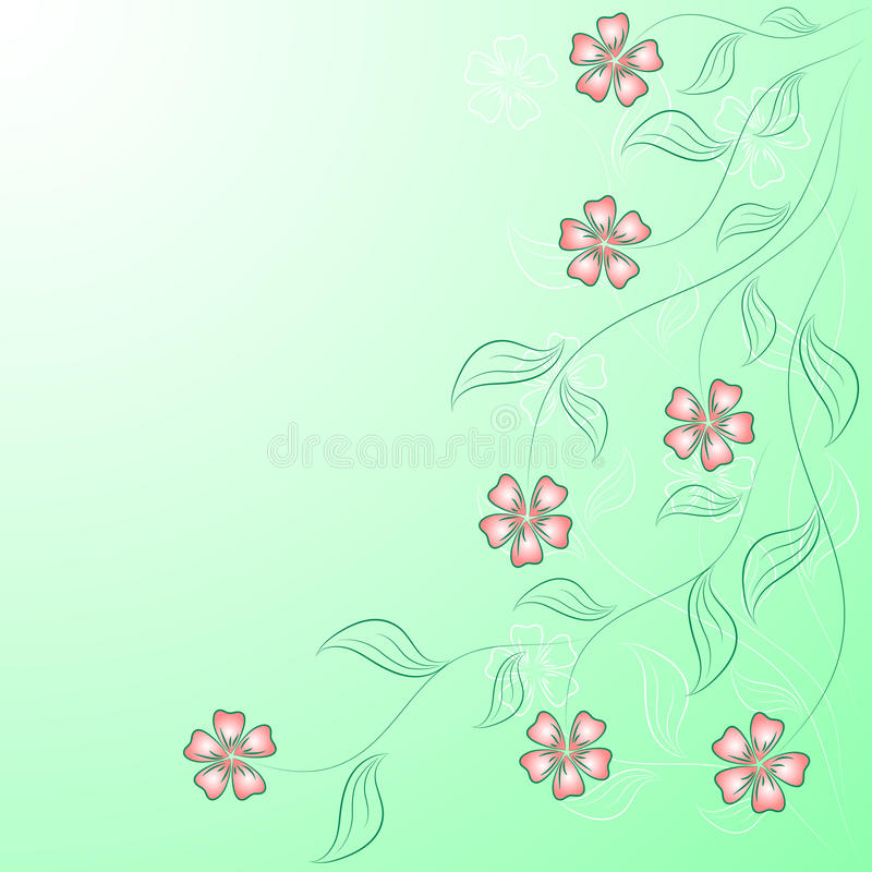 Download Flower Angular Frame On The Green. Stock Photography - Image: 25376732