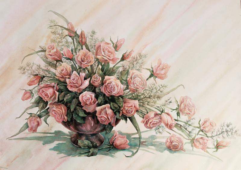A fountain of red roses. Flower arrangement. Bouquet of a large number of red roses in a ceramic vase. Watercolor royalty free illustration