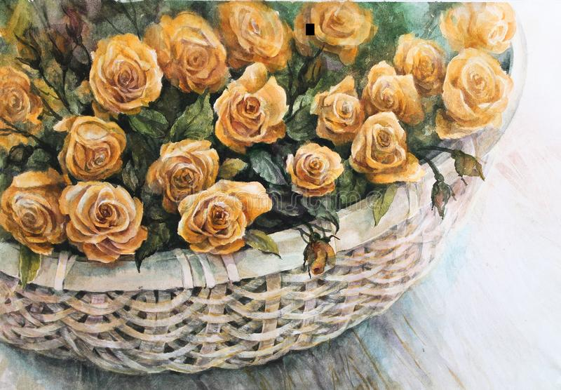 Orange roses in a wicker basket. Flower arrangement. Bouquet of orange roses in a wicker basket on a wooden table. Watercolor vector illustration
