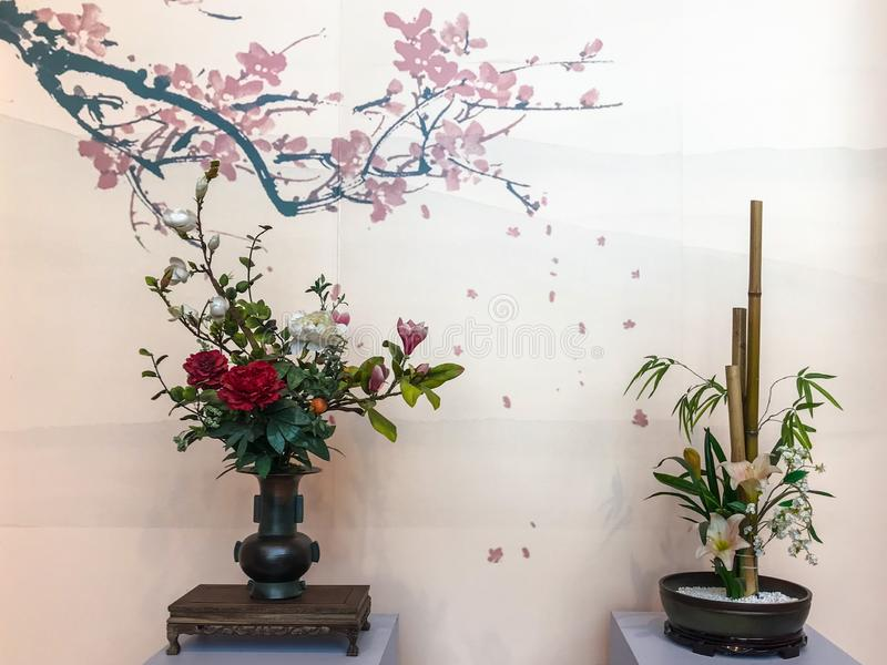 Flower arrangement with Chinese cultural and artistic characteristics stock image