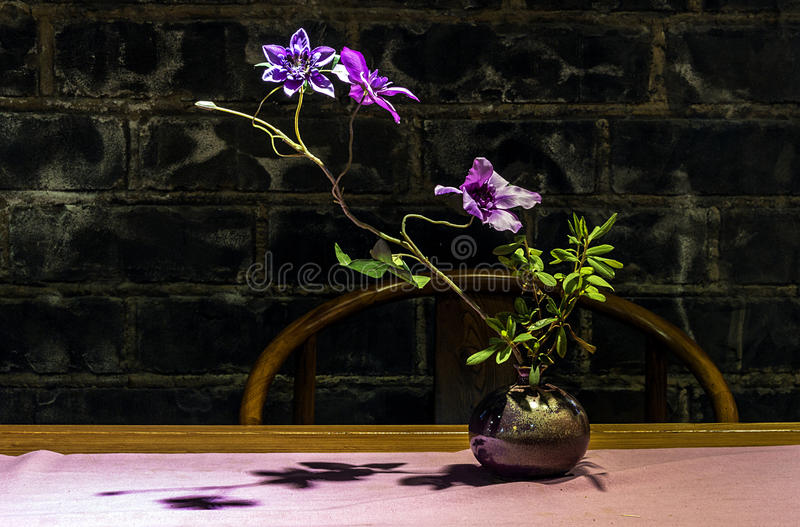 Flower arrangement. This is a flower in the Chinese tea house in Nanjing, China stock photo