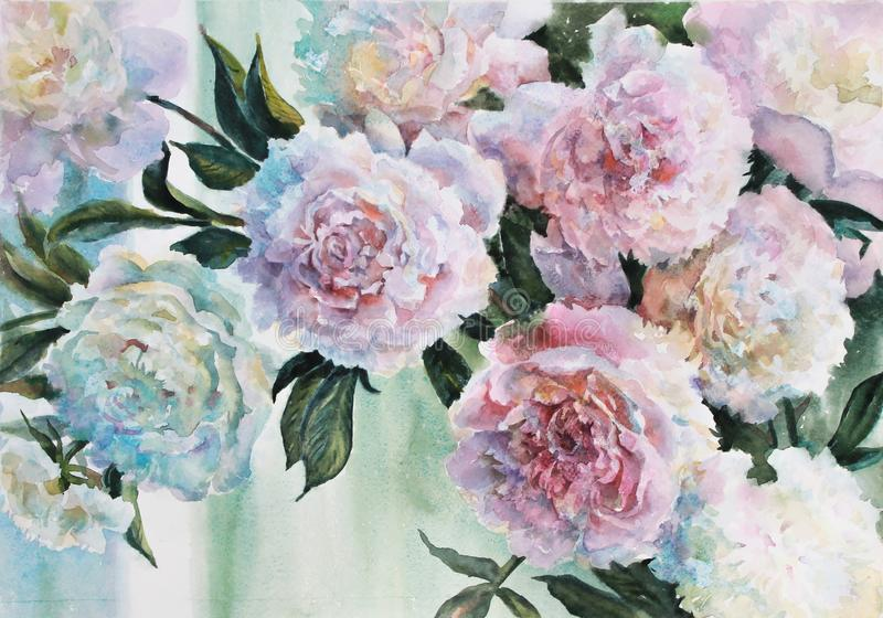 Pale peonies in the morning window. Flower arrangement. A delicate bouquet of pale peonies standing at the morning window. Watercolor royalty free illustration