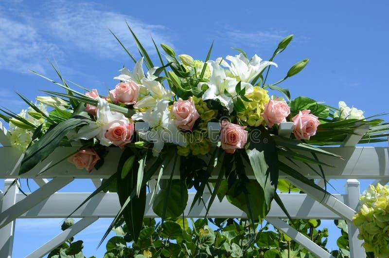Flower Arrangement on Gazebo royalty free stock photography