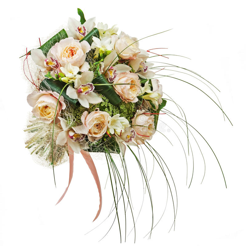Free Flower Arrangement Of Peon Flowers And Orchids Isolated On White Stock Photo - 32549850